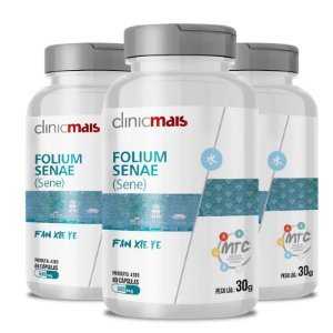 Kit 3 Sene Folium Senae 500mg MTC Clinic Mais 60 cápsulas