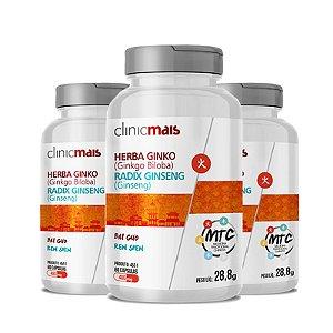 Kit 3 Herba Ginko Radix Ginseng 500mg MTC Clinic Mais 60 cápsulas