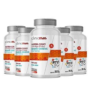 Kit 5 Herba Ginko Radix Ginseng 500mg MTC Clinic Mais 60 cápsulas