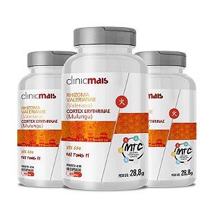 Kit 3 Valeriana + Mulungu 480mg MTC Clinic Mais 60 cápsulas