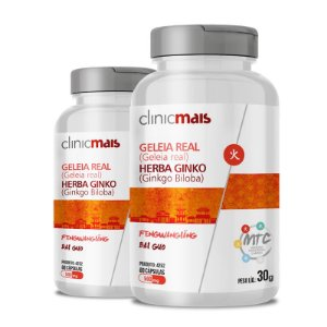 Kit 2 Geleia Real + Herba Ginko 500mg MTC Clinic Mais 60 cápsulas