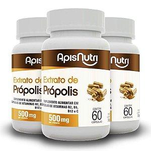 Kit 3 Extrato de própolis 500mg Apisnutri 60 cápsulas