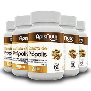 Kit 5 Extrato de própolis 500mg Apisnutri 60 cápsulas