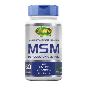 MSM Metil Sufonil Metano + Biotina e Vitamina Unilife 60 cápsulas
