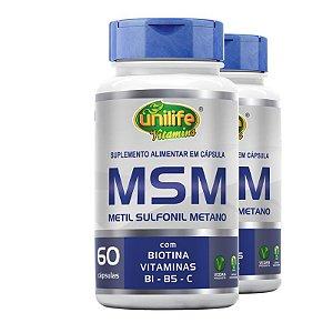 Kit 2 MSM Metil Sufonil Metano + Biotina e Vitamina Unilife 60 cápsulas