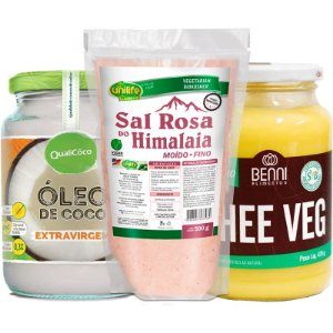 Kit Manteiga Ghee Veg 475g + Óleo de Coco 500ml + Sal Rosa