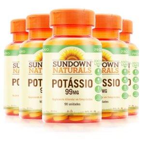 Kit 5 Potássio 99mg Sundown Naturals 90 comprimidos