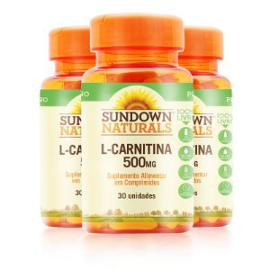 Kit 3 L- Carnitina 500MG Sundown Naturals 30 comprimidos