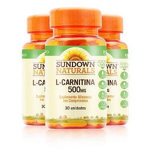 Kit 3 L- Carnitina 500MG Sundown Naturals 30 comprimidos