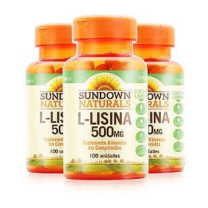 Kit 3 L-Lisina 500mg Sundown Naturals 100 comprimidos