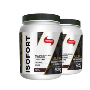 Kit 2 Isofort Ultra 3 em 1 Whey Vitafor 600g Cacau
