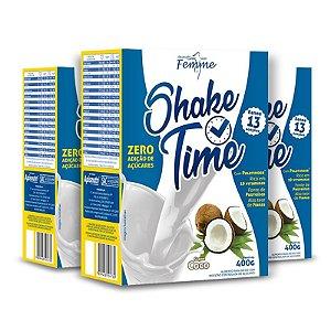 Kit 3 Shake Time Substituto de Refeição Apisnutri 400g Coco