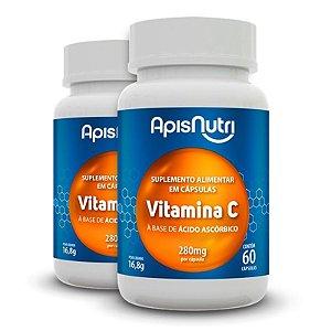 Kit 2 Vitamina C Ácido Ascórbico Apisnutri 60 cápsulas