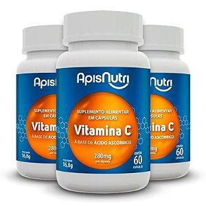 Kit 3 Vitamina C Ácido Ascórbico Apisnutri 60 cápsulas