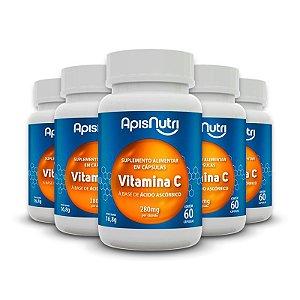 Kit 5 Vitamina C Ácido Ascórbico Apisnutri 60 cápsulas