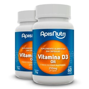 Kit 2 Vitamina D3 Oil Apisnutri 60 cápsulas