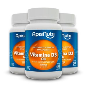 Kit 3 Vitamina D3 Oil Apisnutri 60 cápsulas