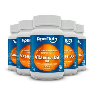Kit 5 Vitamina D3 Oil Apisnutri 60 cápsulas