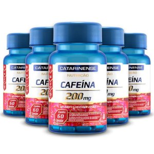 Kit 5 Cafeína 200mg Catarinense Pharma 60 cápsulas