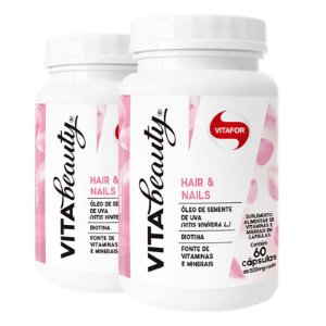 Kit 2 Vita Beauty Hair & Nails Vitafor 60 cápsulas