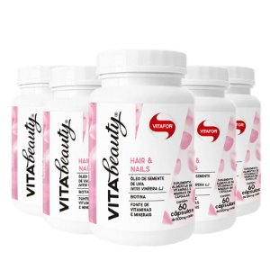 Kit 5 Vita Beauty Hair & Nails Vitafor 60 cápsulas