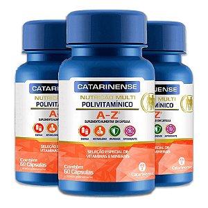 Kit 3 Polivitamínico A-Z Catarinense 60 cápsulas