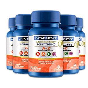 Kit 5 Polivitamínico A-Z Catarinense 60 cápsulas