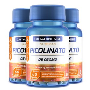 Kit 3 Picolinato de Cromo Catarinense Pharma 60 cápsulas