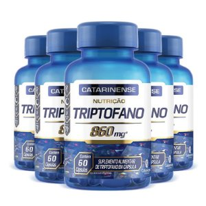 Kit 5 Triptofano 860mg Catarinense Pharma 60 cápsulas