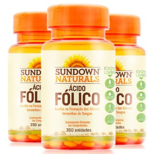 Kit 3 Ácido Fólico 400mcg Vitamina B9 Sundown 350 comprimidos