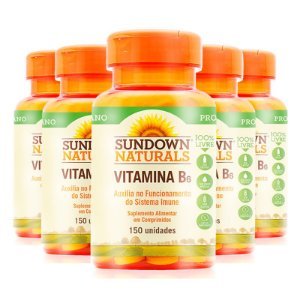 Kit 5 Vitamina B6 50mg Piridoxina Sundown 150 comprimidos