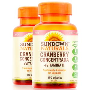 Kit 2 Cranberry Concentrada + Vitamina D Sundown 150 cápsulas
