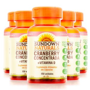 Kit 5 Cranberry Concentrada + Vitamina D Sundown 150 cápsulas