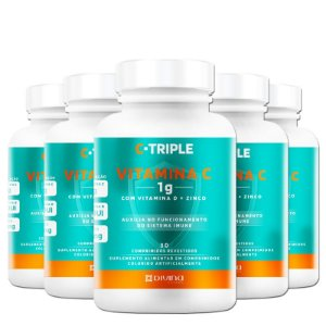 Kit 5 C-Triple Vitamina C 1000mg + Zinco + D Divina 30 cápsulas