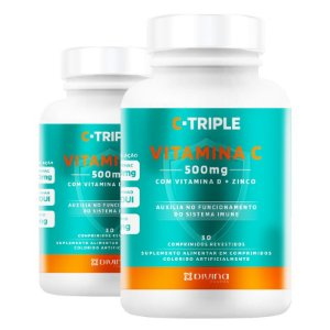 Kit 2 C-Triple Vitamina C 500mg + Zinco + D Divina 30 cápsulas
