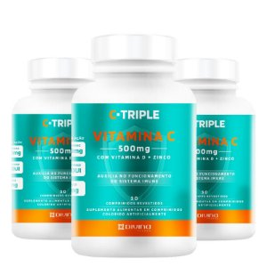 Kit 3 C-Triple Vitamina C 500mg + Zinco + D Divina 30 cápsulas
