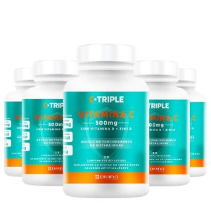 Kit 5 C-Triple Vitamina C 500mg + Zinco + D Divina 30 cápsulas