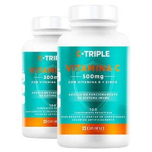 Kit 2 C-Triple Vitamina C 500mg + Zinco + D Divina 100 cápsulas