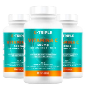 Kit 3 C-Triple Vitamina C 500mg + Zinco + D Divina 100 cápsulas
