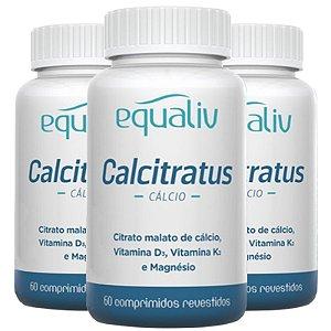 Kit 3 Calcitratus Cálcio + D3 + K2 e Magnésio Equaliv 60 comprimidos