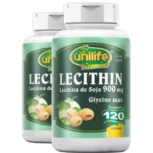 Kit 2 Lecitina de soja 900mg Unilife 120 cápsulas