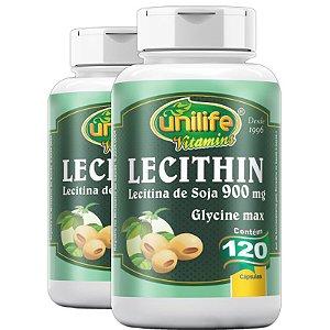 Kit 2 Lecitina de soja 900mg Unilife 120 cápsulas