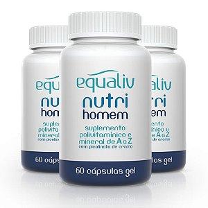 Kit 3 Nutri Homem Polivitamínico de A a Z Equaliv 60 cápsulas gel