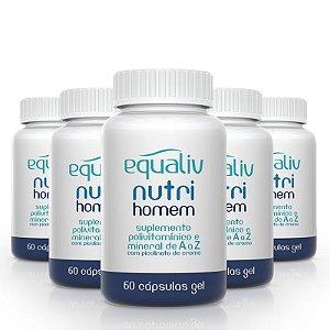 Kit 5 Nutri Homem Polivitamínico de A a Z Equaliv 60 cápsulas gel