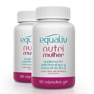Kit 2 Nutri Mulher Polivitamínico de A a Z Equaliv 60 cápsulas gel