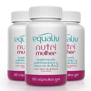 Kit 3 Nutri Mulher Polivitamínico de A a Z Equaliv 60 cápsulas gel