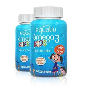 Kit 2 Ômega 3 Pro Kids Equaliv 60 cápsulas Sabor Laranja