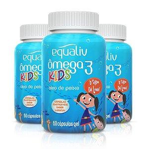 Kit 3 Ômega 3 Pro Kids Equaliv 60 cápsulas Sabor Laranja