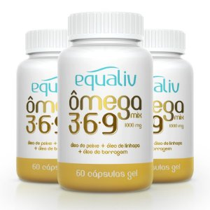 Kit 3 Ômega 3 Mix 3-6-9 1000mg Equaliv 60 cápsulas