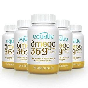 Kit 5 Ômega 3 Mix 3-6-9 1000mg Equaliv 60 cápsulas